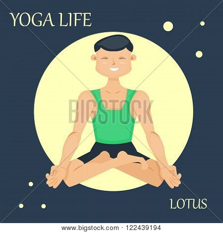 Sporty man, yogi sitting in the lotus pose. Yoga asana. Relaxed athlete