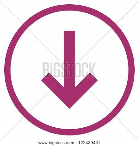 Down Arrow vector icon. Picture style is flat down arrow rounded icon drawn with purple color on a white background.