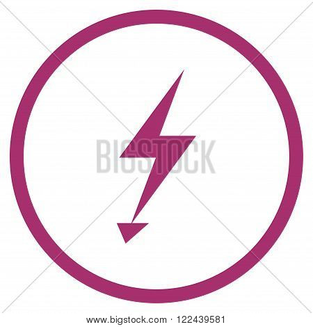 Electric Strike vector icon. Picture style is flat electric strike rounded icon drawn with purple color on a white background.