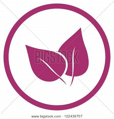 Flora Plant vector icon. Picture style is flat flora plant rounded icon drawn with purple color on a white background.