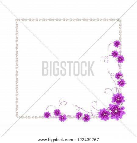 Beautiful square frame with violet mallow flowers and pearls isolated on white background for greeting card or invitation design.