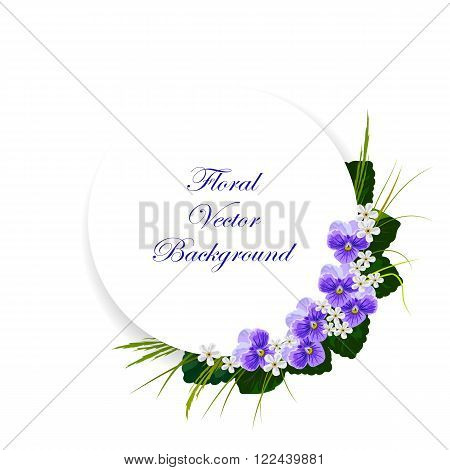 Floral vector background. Corner composition of violets, white flowers, green leaves and herbs. White round banner with place for your text.