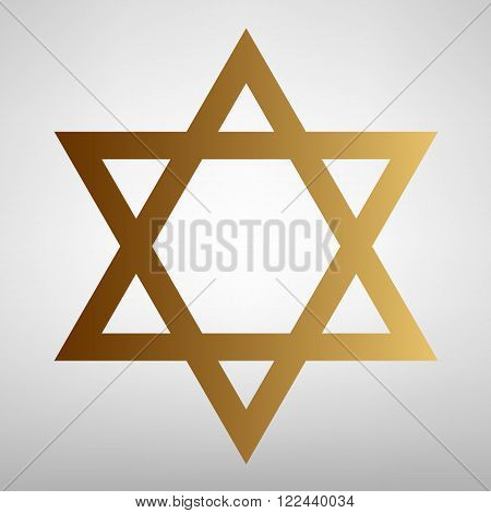 Star. Shield Magen David. Symbol of Israel. Flat style icon with golden gradient