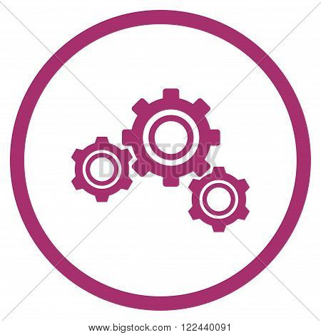 Preferences vector icon. Picture style is flat gears rounded icon drawn with purple color on a white background.