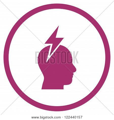 Headache vector icon. Picture style is flat headache rounded icon drawn with purple color on a white background.