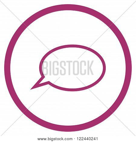 Hint Cloud vector icon. Picture style is flat hint cloud rounded icon drawn with purple color on a white background.