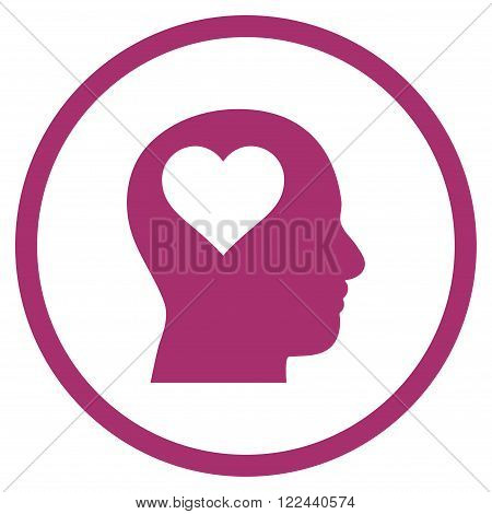 Lover Head vector icon. Picture style is flat lover head rounded icon drawn with purple color on a white background.