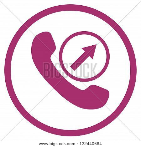 Outgoing Call vector icon. Picture style is flat outgoing call rounded icon drawn with purple color on a white background.