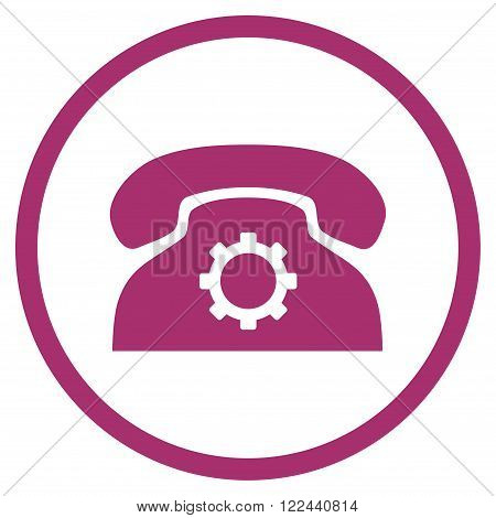 Telephone Configuration vector icon. Picture style is flat phone settings rounded icon drawn with purple color on a white background.