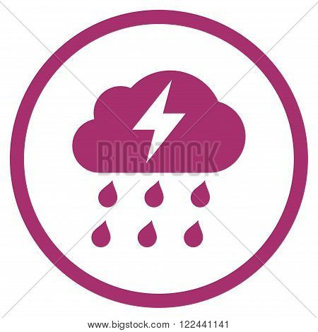 Thunderstorm vector icon. Picture style is flat thunderstorm rounded icon drawn with purple color on a white background.