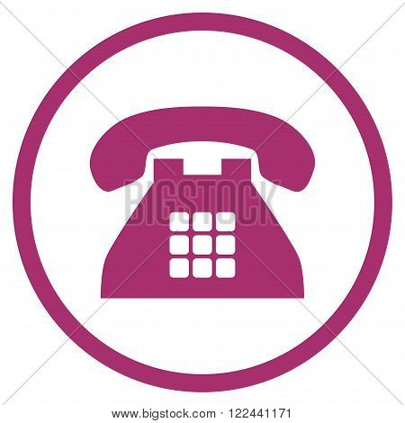 Tone Telephone vector icon. Picture style is flat tone phone rounded icon drawn with purple color on a white background.