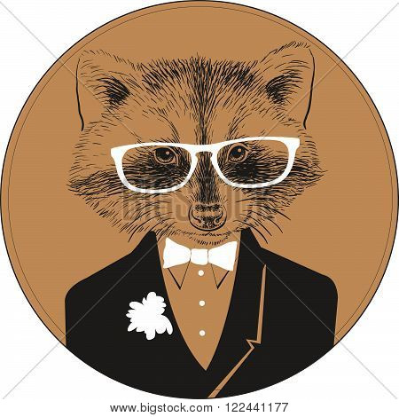 Fashion Hand Drawn Vector Portrait of Racoon in a white glasses, black suit with white bow.