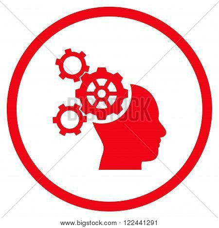 Brain Mechanics vector icon. Picture style is flat brain mechanics rounded icon drawn with red color on a white background.