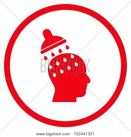 Brain Washing vector icon. Picture style is flat brain washing rounded icon drawn with red color on a white background.