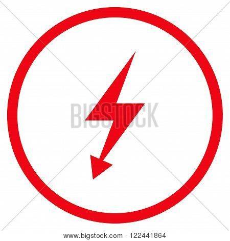 Electrical Strike vector icon. Picture style is flat electric strike rounded icon drawn with red color on a white background.