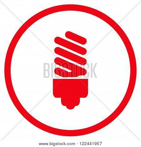 Fluorescent Bulb vector icon. Picture style is flat fluorescent bulb rounded icon drawn with red color on a white background.