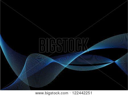 Abstract Blue Ribbon with Blend on Black Background