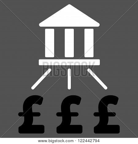 Bank Pound Payments vector icon. Bank Pound Payments icon symbol. Bank Pound Payments icon image. Bank Pound Payments icon picture. Bank Pound Payments pictogram. Flat bank pound payments icon.