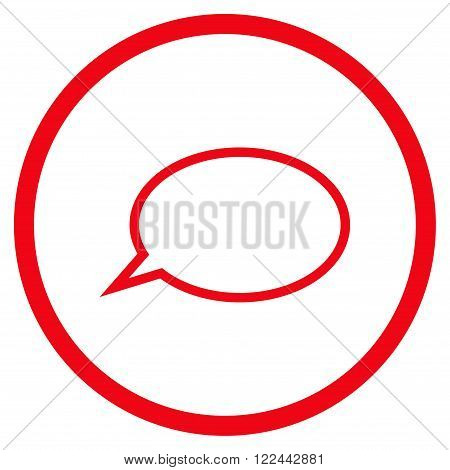 Hint Cloud vector icon. Picture style is flat hint cloud rounded icon drawn with red color on a white background.