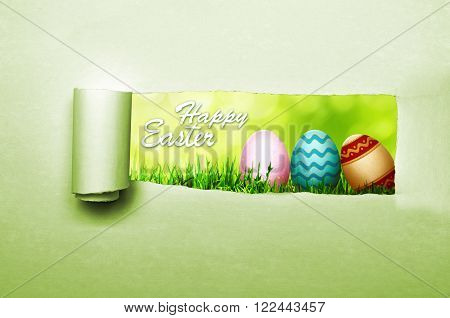 Paper tear with happy easter greeting inside it. Happy easter concept