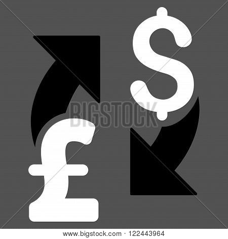 Dollar Pound Exchange vector icon. Dollar Pound Exchange icon symbol. Dollar Pound Exchange icon image. Dollar Pound Exchange icon picture. Dollar Pound Exchange pictogram.