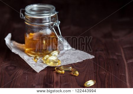Fish oil, in the Bank and in capsules.