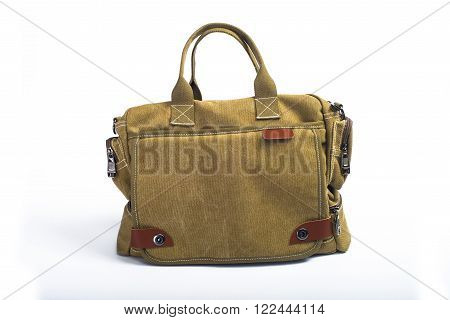 Modern men's bag made of cloth isolated on a white background