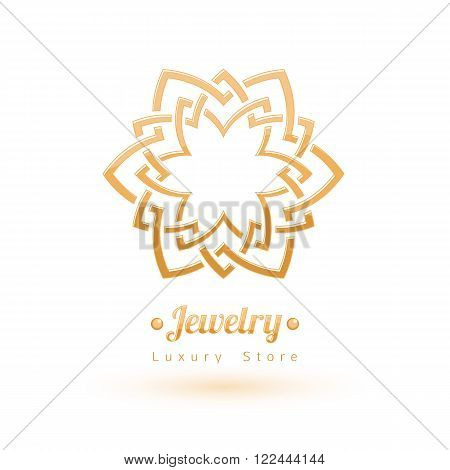 Elegant golden vector jewelry decoration. Ethnic floral vignettes. Good for fashion jewelry store design logo.