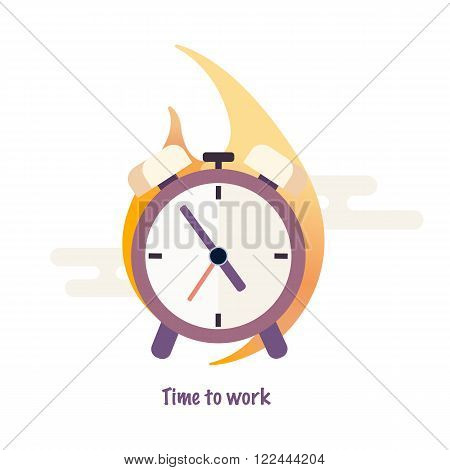 Time to work. Time is running out. Clock, alarm clock in flame. Vector Design