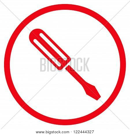 Screwdriver vector icon. Picture style is flat screwdriver rounded icon drawn with red color on a white background.