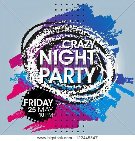 Crazy Night Party Vector Flyer Template - EPS10 Design.