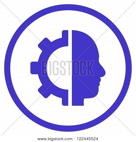 Cyborg Gear vector icon. Picture style is flat cyborg gear rounded icon drawn with violet color on a white background.