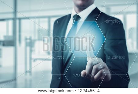Hand pointing to businessman icon-HR recruitment and chosen concept.