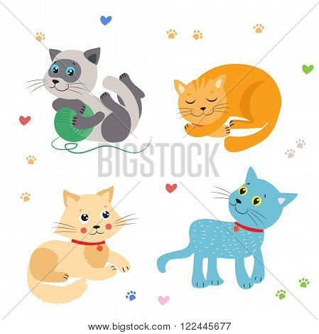 Cute Little Cats Vector Illustration. Cat Mascot Vector. Cats Meowing. Cats Sleeping Play Sitting. Beautiful Domestic Cats. Vector Image.