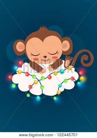 Cute Baby Monkey And Garlands. Cartoon Vector Happy New Year Card. Baby Monkey For Sale. Sleeping Monkey. Baby Monkey Doll. Baby Monkey Toy. Baby Monkey Costume. Baby Monkey Picture.