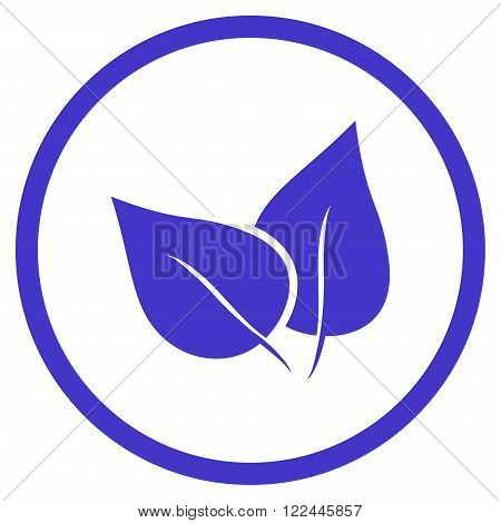 Flora Plant vector icon. Picture style is flat flora plant rounded icon drawn with violet color on a white background.