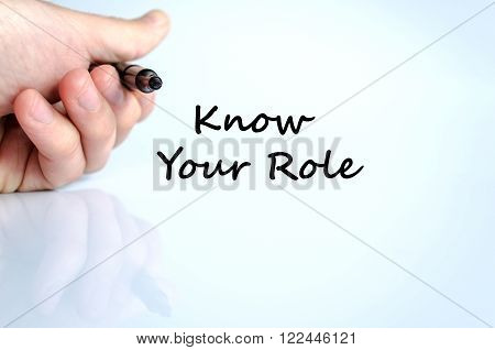 Know your role text concept isolated over white background