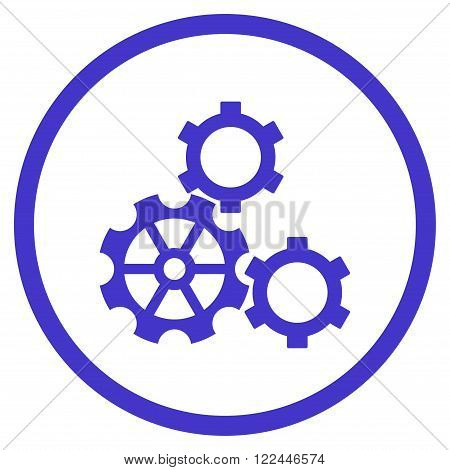 Config vector icon. Picture style is flat gears rounded icon drawn with violet color on a white background.