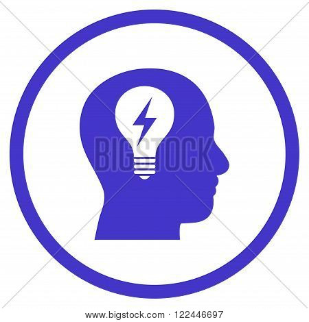 Head Bulb vector icon. Picture style is flat head bulb rounded icon drawn with violet color on a white background.