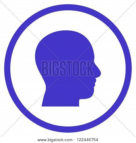 Head Profile vector icon. Picture style is flat head profile rounded icon drawn with violet color on a white background.