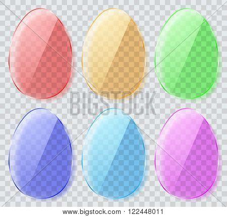 Set Of Transparent Glass Easter Eggs. Flat Design