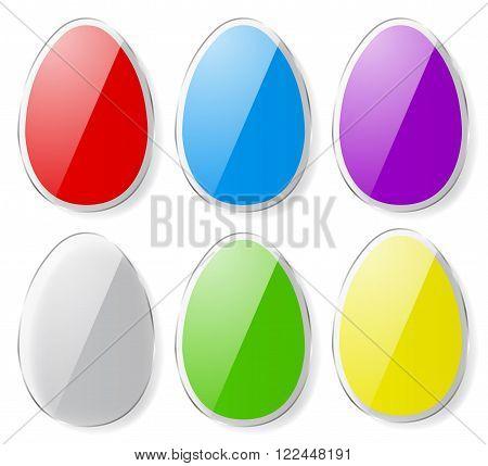 Set Of Colorful Easter Eggs. Flat Design