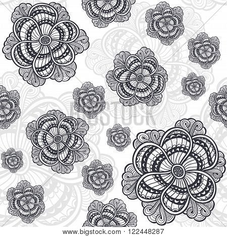 Seamless pattern with Zen-doodle or  Zen-tangle flowers black on white for coloring page or relax coloring book or wallpaper or for decorate package clothes  or different things