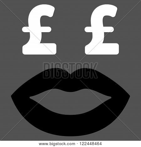 Pound Prostitution Smile vector icon. Pound Prostitution Smile icon symbol. Pound Prostitution Smile icon image. Pound Prostitution Smile icon picture. Pound Prostitution Smile pictogram.