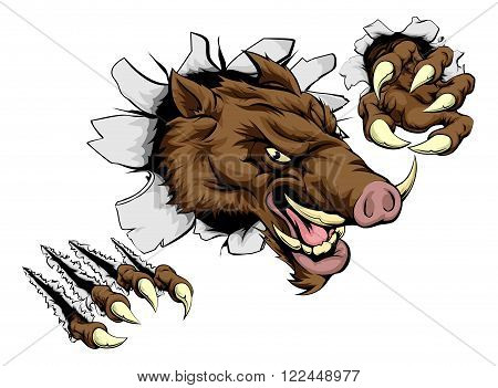 Boar Mascot Breaking Through Wall