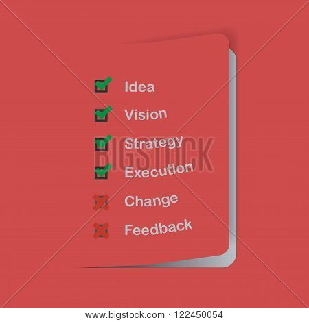 Flat design business concept sheet with check list, box, marked and shadow