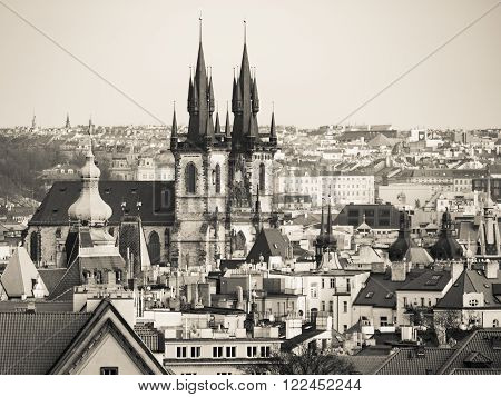 Prague Old Town with Church of Our Lady before Tyn. Aerial view from Letna Park, Czech Republic. Creamtone image. ** Note: Soft Focus at 100%, best at smaller sizes