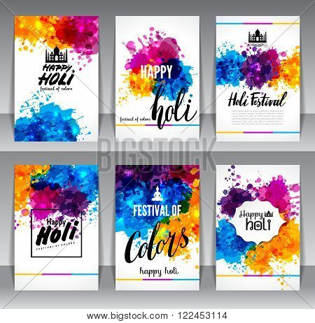 Calligraphic header and banner set happy holi beautiful Indian festival colorful collection design. Vector illustration.