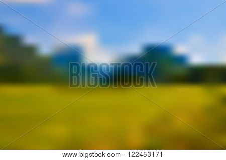Abstract blurred nature vector background with mountains, sky and meadow, blurry