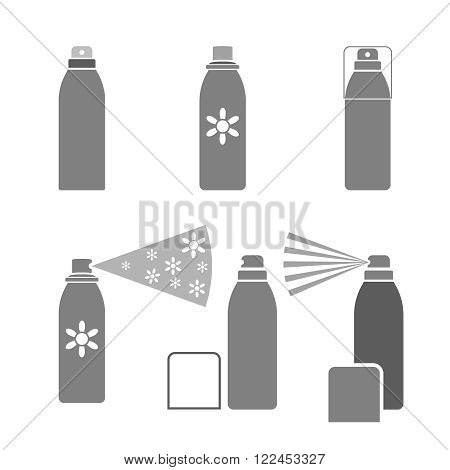 Deodorant icons in gray color isolated on a white background in flat simple style. Vector illustration.